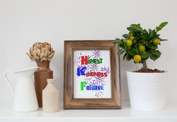 Honest, Kindness, Forgive Wall art decor