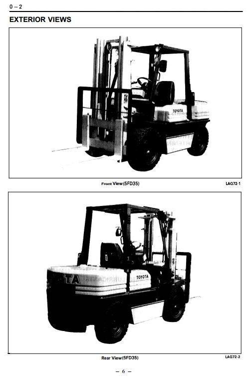 Toyota Diesel Forklift Truck:  5FD33, 5FD35, 5FD40, 5FD45, 5FDA50, 5FDE35 Workshop Service Manual