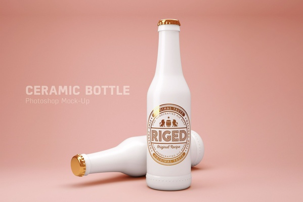 Realistic Golden Ceramic Beer Bottle