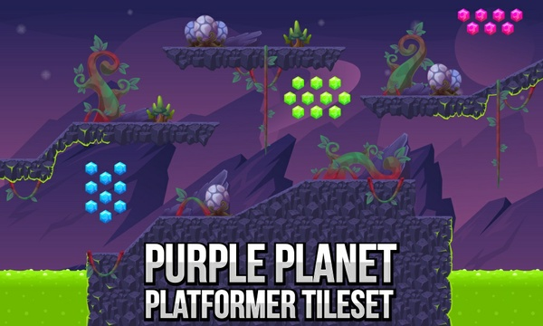 Purple Planet - Platformer Tileset