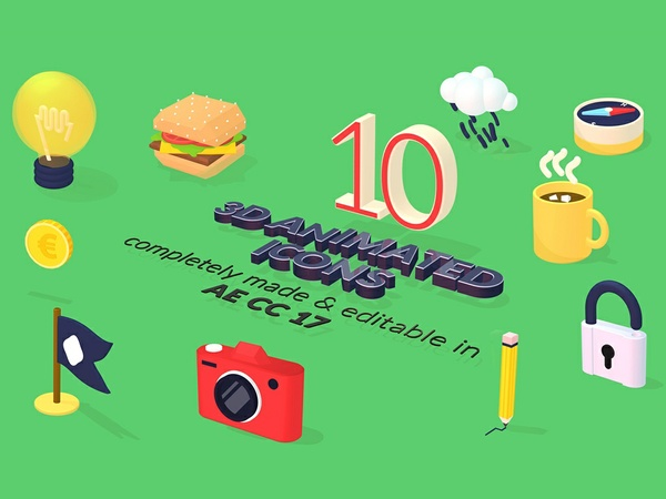 3D animated objects for After Effects Made with cinema 4d renderer VOL 1