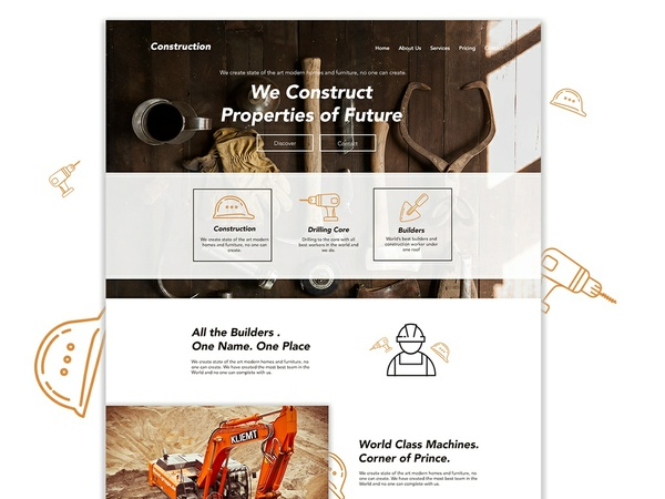 Free Construction Landing Page PSD Template