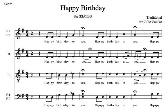 Happy Birthday SSATBB smooth jazz version
