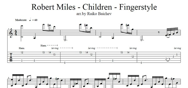 Robert Miles - Children - Fingerstyle Tab - arr. by Raiko Baichev