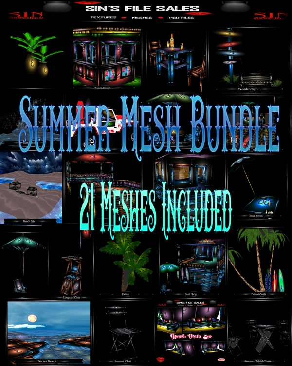 Huge Summer Mesh Bundle *21 Meshes Included