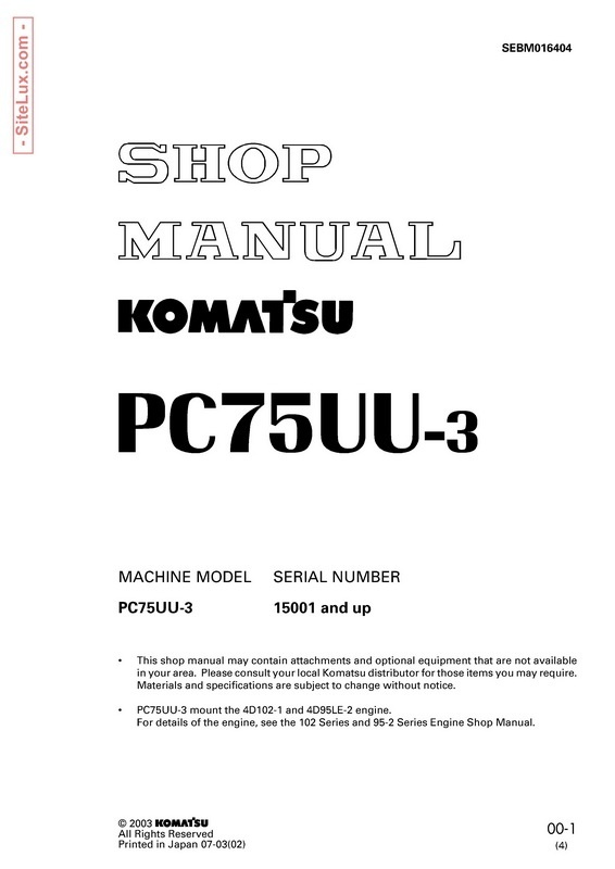 Komatsu PC75UU-3 Hydraulic Excavator (15001 and up) Shop Manual - SEBM016404