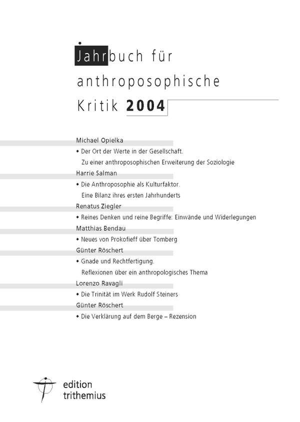 Jahrbuch für anthroposophische Kritik 2004