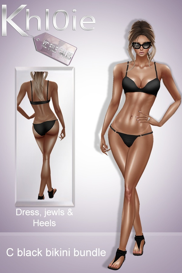 C black bikini bundle ( outfit , heels , access)
