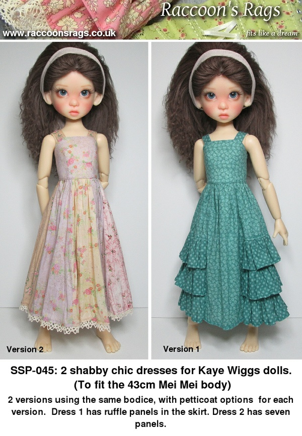 SSP-045: 2 dresses and petticoats for Kaye Wiggs dolls.  (Mei Mei body, 43cm)