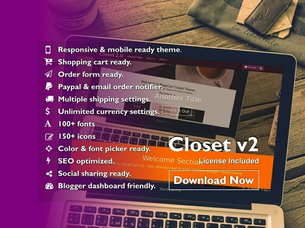 BlogrCart CLOSET V2 (PRO) - Responsive Blogger Shopping Cart Theme/Template (Bundled)