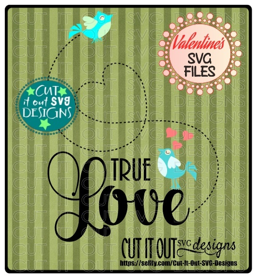 True Love Birds Valentines Element SVG Cutting File perfect for vinyl, Heat Transfers, scrapbooking,