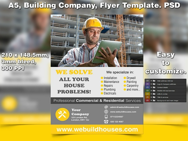 Building Company/Builders Flyer Template (A5 PSD)