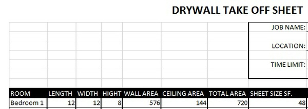 Drywall Take off Sheet