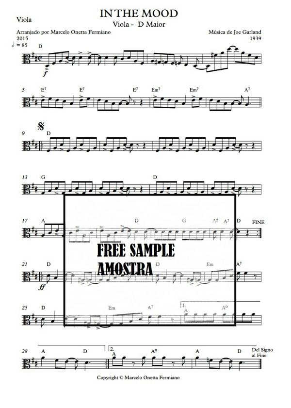 In The Mood - Solo Viola Sheet Music Download
