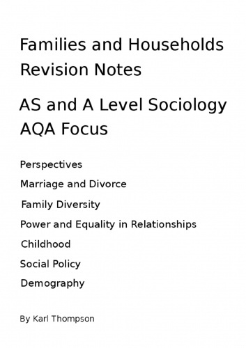 Sociology Revision Notes - Education, Research Methods and Families and Household