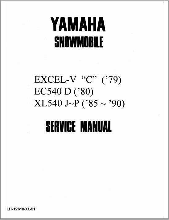 1979-1990 Yamaha Excel-V C, EC540 D, XL540 J~P, Snowmoblile Workshop Service Repair Manual