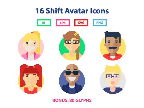16 Shift Avatar Icons (Bonus: 80 Glyphs)