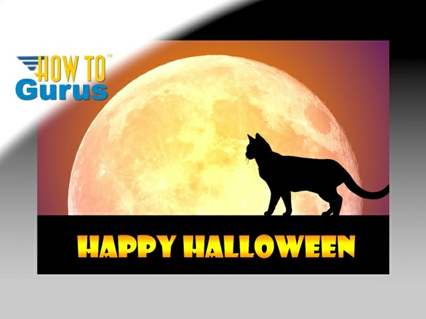 How To Make a Spooky Halloween Cat and Moon Card in Photoshop Elements 14 13 12 11 Tutorial