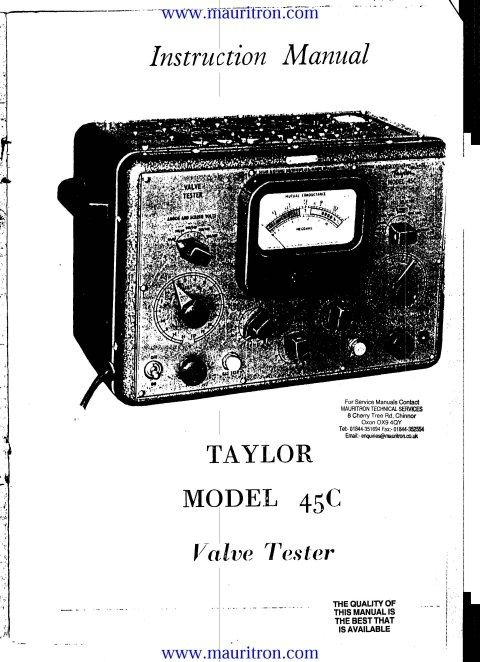 Taylor 45C Instructions