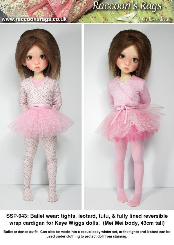 SSP-043: ballet outfit for Kaye Wiggs dolls.  (Mei Mei body, 43cm)