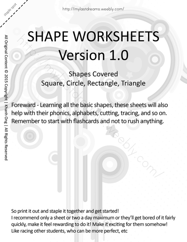 MLD - Basic Shapes Worksheets - Part 1 - Letter Sized