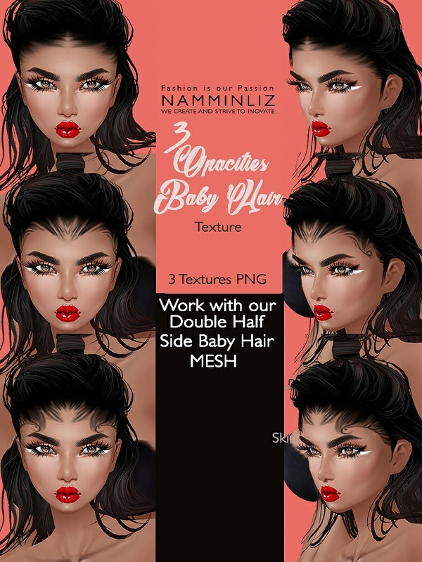 Double Side 3 Baby Hair Opacity Textures PNG