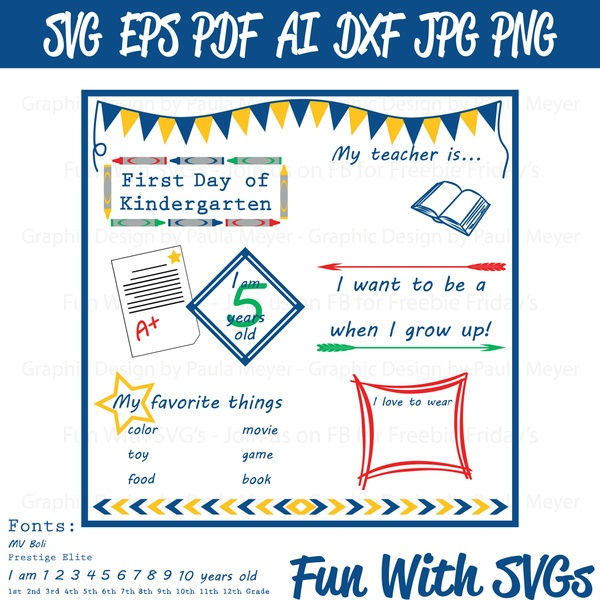 First Day of School Sign1 - SVG Cut File, High Resolution Printable Graphics and Editable Vector Art