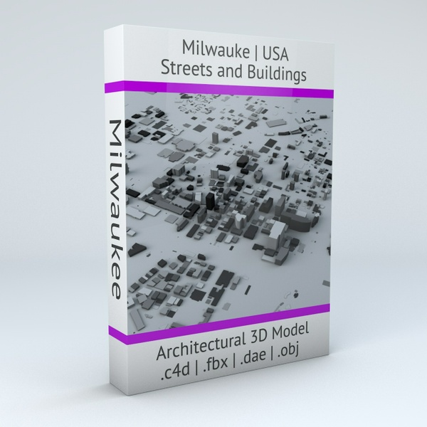 Milwaukee Streets and Buildings Architectural 3D Model