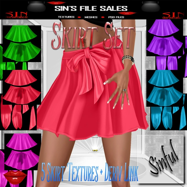 Skirt Set * 5 Skirt Textures + Derv Link