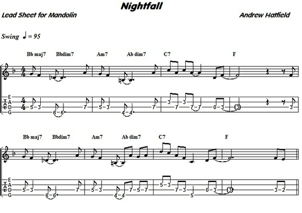 """""""Nightfall""""--New Songs to Play on Mandolin Project by Andy Hatfield"""