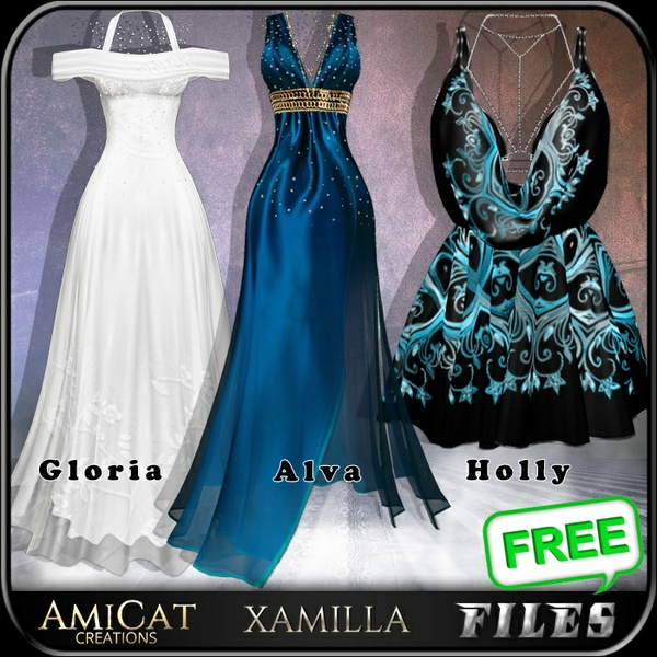 AmiCat IMVU HOLLY+GLORIA+ALVA DRESS Free (for xamilla meshes only)
