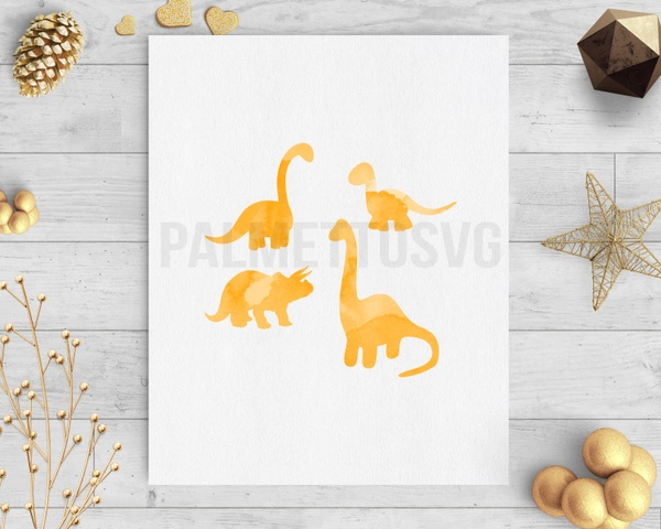 Dinosaurs orange watercolor clip art svg dxf silhouette cricut downloads
