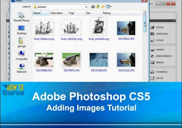 Adobe Photoshop CS5 Adding Images Tutorial - How to Insert Photos in Photoshop