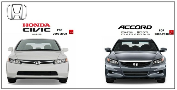 Honda Civic 2006-08 & Accord 2008-10 PDF Workshop Manuals.