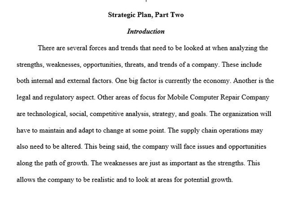 BUS 475 Strategic Plan Part II SWOTT Analysis Week 3