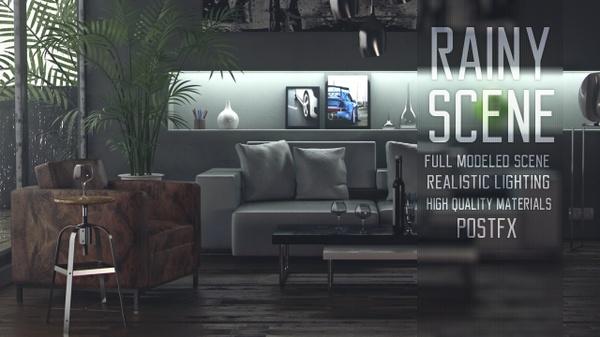 Rainy Day - Livingroom scene(VRAY)