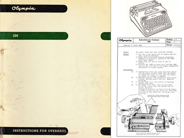 Olympia SM 2, 3, 4, 5, 7 Portable Typewriter Service Repair Adjustment Manual