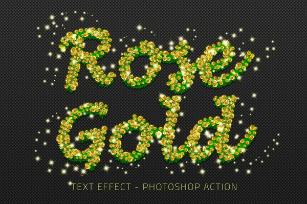 Rose Gold Text Effect Photoshop Actions