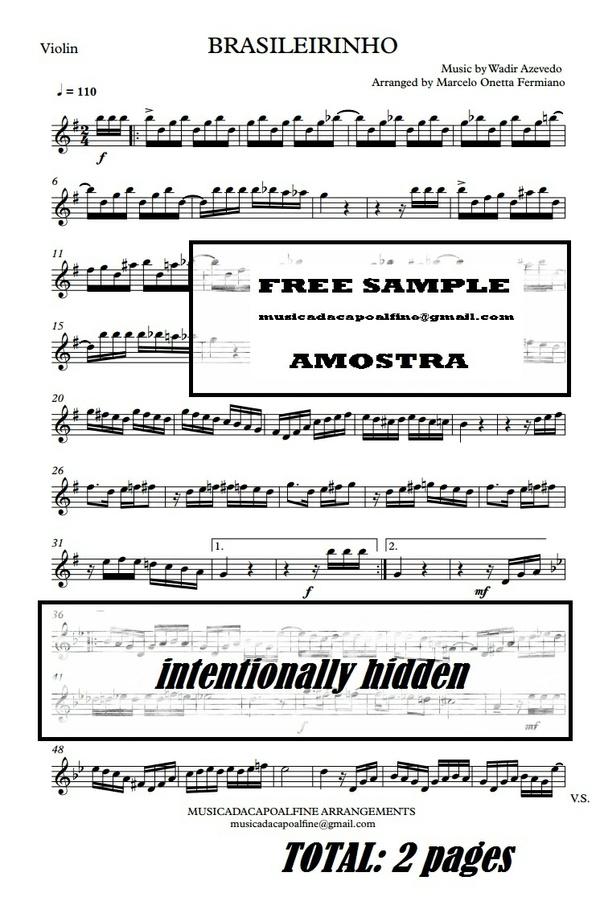 Brasileirinho - Waldir Azevedo - Violin - Sheet Music Partitura PDF