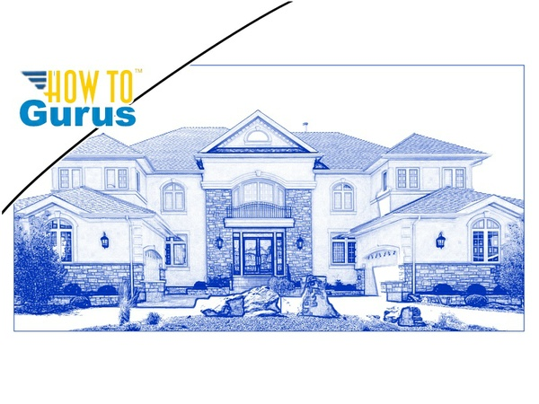 Photoshop Elements Drawing Effect : Architecture Blue Line Drawing in 15 14 13 12 11 Tutorial