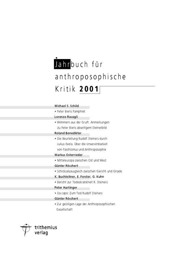 Jahrbuch für anthroposophische Kritik 2001