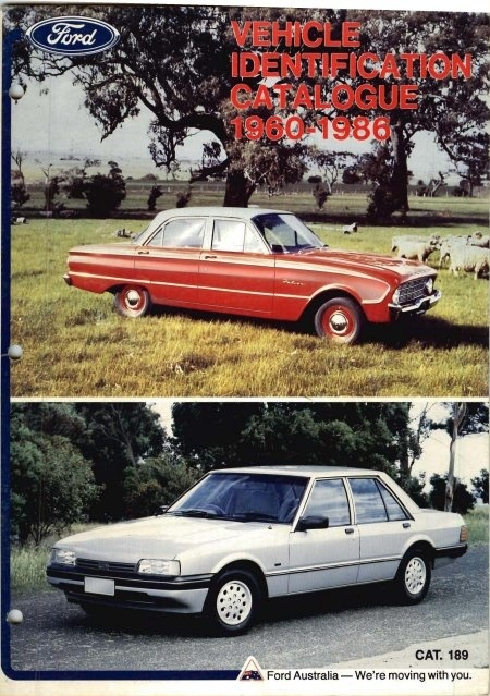 FORD Falcon Vehicle Identification Information for Australian Ford cars 1960 - 1986