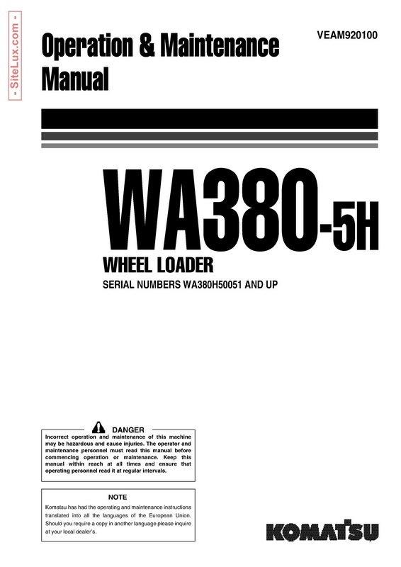 Komatsu WA380-5H Wheel Loader Operation & Maintenance Manual - VEAM920100
