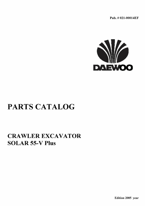 Doosan Daewoo Solar 55-V Plus Excavator Parts Catalog Manual Pdf