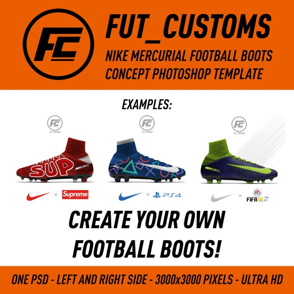 FUT_CUSTOMS - Nike Mercurial Football Boots Concept Photoshop template