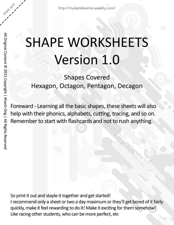 MLD - Basic Shapes Worksheets - Part 3 - Letter Sized