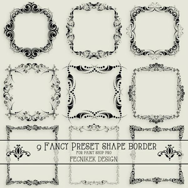9 fancy preset shape border for Paint Shop Pro