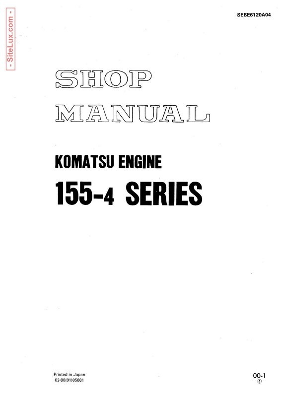 Komatsu 155-4 Series Diesel Engine Shop Manual - SEBE6120A04