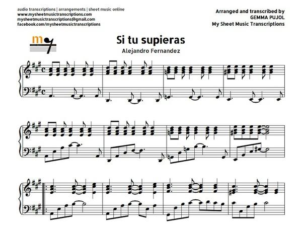 Si Tú Supieras Piano Accompaniment (Alejandro Fernández) Sheet music (.pdf)