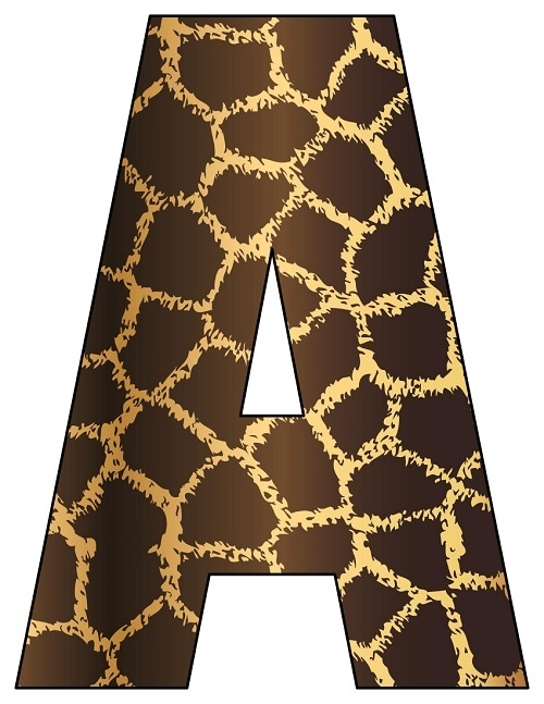 8X10.5  Inch Giraffe Printable Letters A-Z, 0-9
